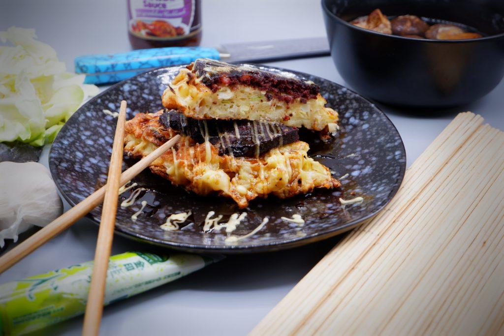 Okonomiyaki, Pannas, Spitzkohl, Wasabi, Teriyaki, Apfel, Himmel und Erde